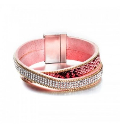 Bracelet 2 Rangs Cristaux Blancs de Swarovski Elements et Cuir Rose
