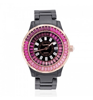 Montre en Céramique et Cristal de Swarovski Elements Rose