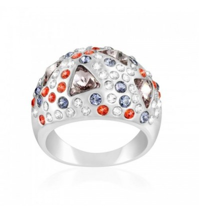 Bague en Cristal Swarovski Elements Multicolor et Plaqué Rhodium